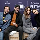 Kevin Smith, Hilary Swank, Grant Sputore, and Clara Rugaard at an event for The IMDb Studio at Sundance (2015)