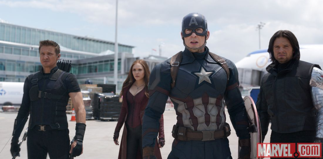 Chris Evans, Elizabeth Olsen, Jeremy Renner, and Sebastian Stan in Captain America: Civil War (2016)
