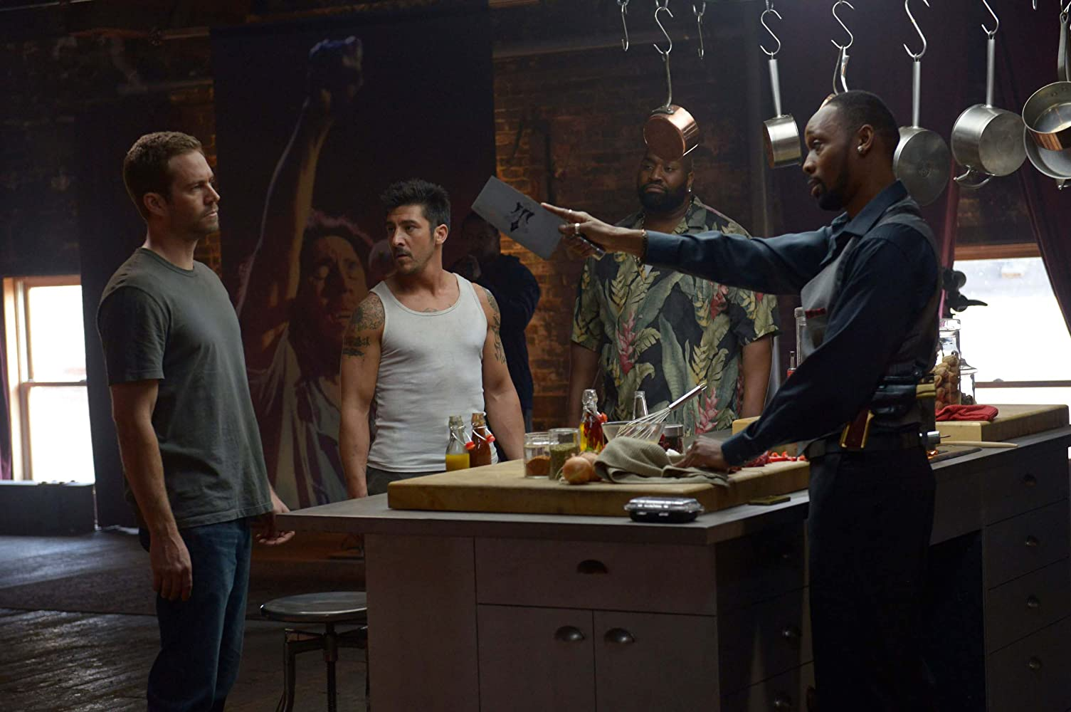 Goûchy Boy, RZA, Paul Walker, and David Belle in Brick Mansions (2014)