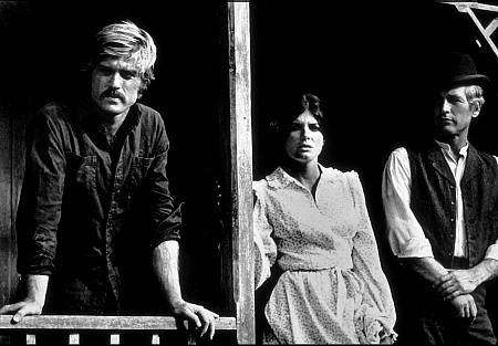 """""""Butch Cassidy and The Sundance Kid,"""" Robert Redford, Katherine Ross, & Paul Newman."""