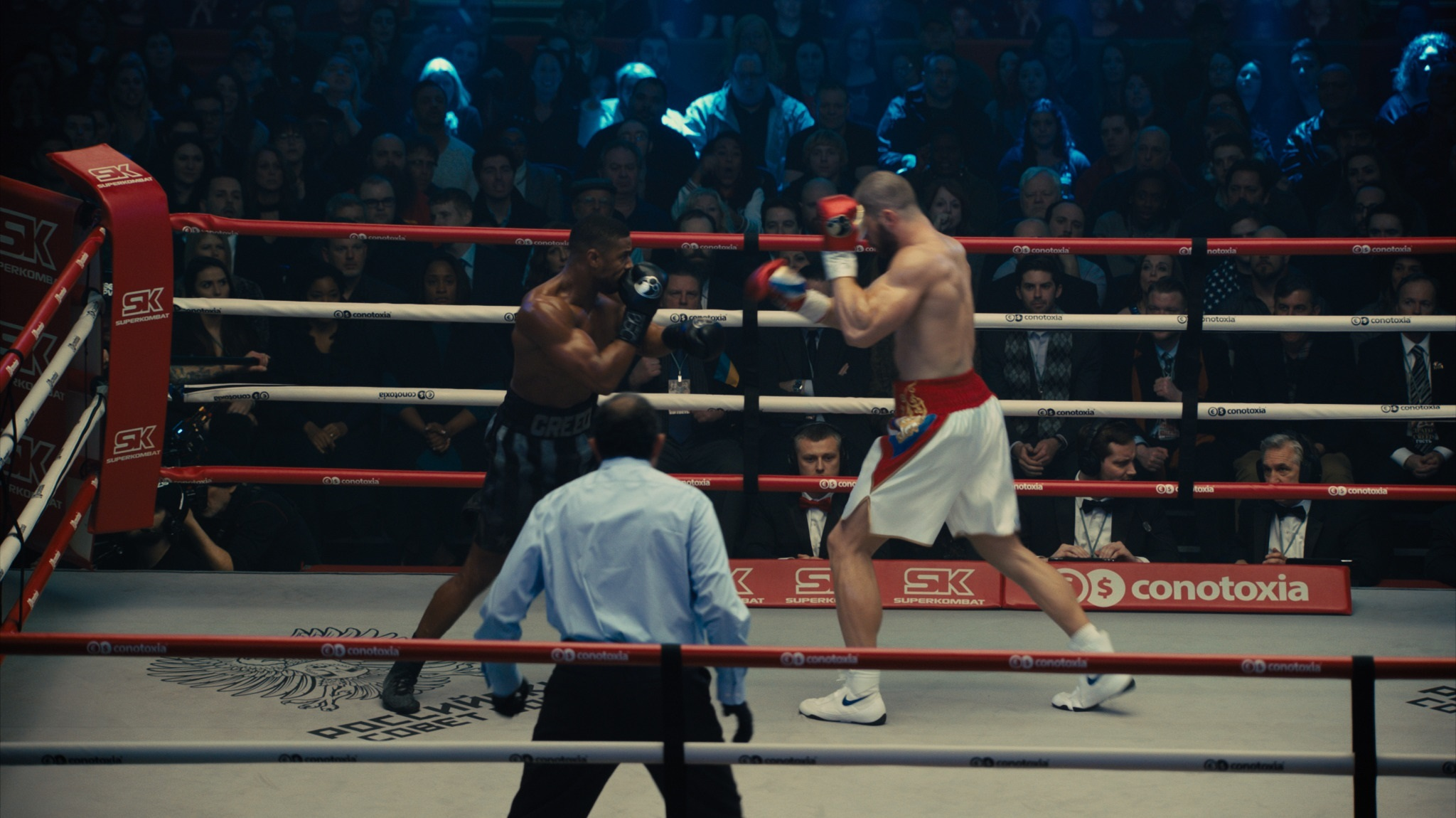 Michael B. Jordan and Florian Munteanu in Creed II (2018)