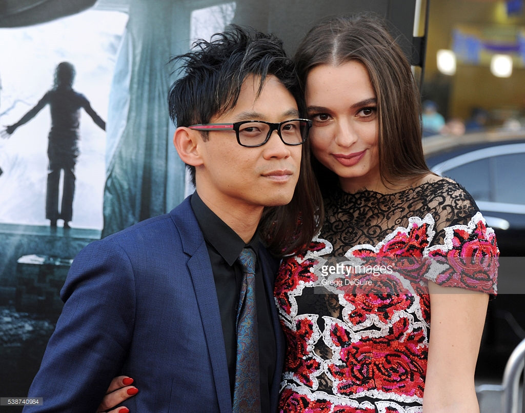"""Ingrid Bisu and James Wan at the premiere of the movie """"Conjuring 2""""."""