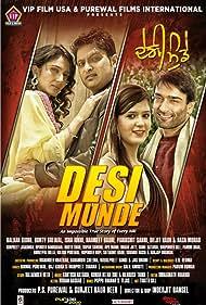 Jatin Grewal, Raza Murad, Gordon Round, Mandeep Benipal, Bunty Grewal, Balkar Sidhu, and Harmeet Kaur in Desi Munde (2016)