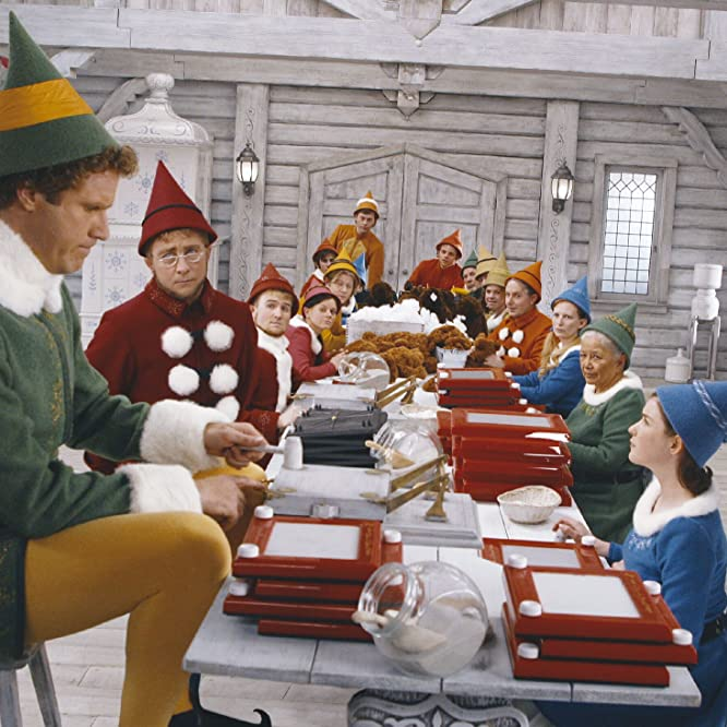 Will Ferrell, Kristian Ayre, Peter Billingsley, Meghan Black, and David Avalon in Elf (2003)
