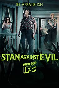 John C. McGinley, Nate Mooney, Deborah Baker Jr., and Janet Varney in Stan Against Evil (2016)