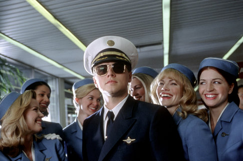 Frank with his bevy of aspiring flight attendants