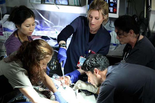 "Angela Relucio, Bonnie Somerville, Raza Jaffrey. ""Code Black"" on CBS. (Season 1, Episode 2: ""We Plug Holes"")."