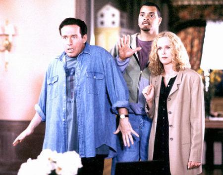 Kim Greist, Sinbad, and Phil Hartman in Houseguest (1995)