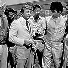 "Elvis Presley, Carl Ballantine, Bill Bixby, and Nancy Sinatra in ""Speedway,"" MGM, 1968."