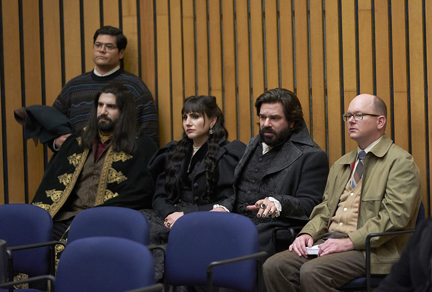 Kayvan Novak, Mark Proksch, Matt Berry, Harvey Guillén, and Natasia Demetriou in What We Do in the Shadows (2019)