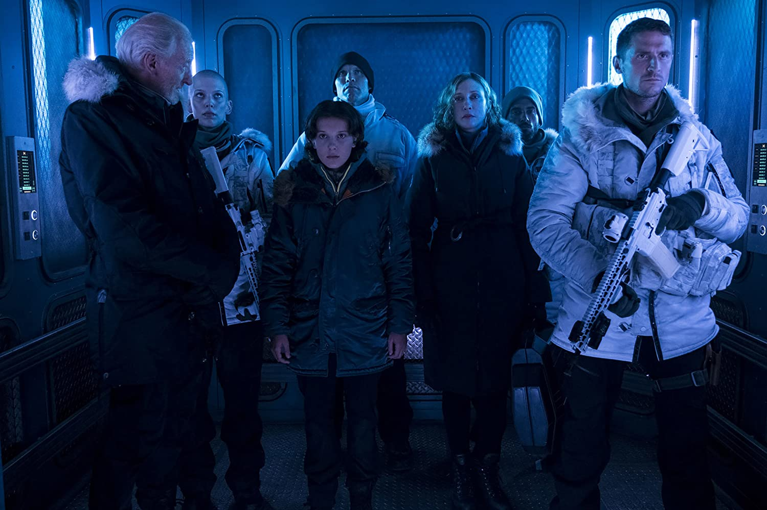 Charles Dance, Vera Farmiga, Zac Zedalis, Jonathan Howard, Joshua Leary, Millie Bobby Brown, and Tracie Garrison in Godzilla: King of the Monsters (2019)