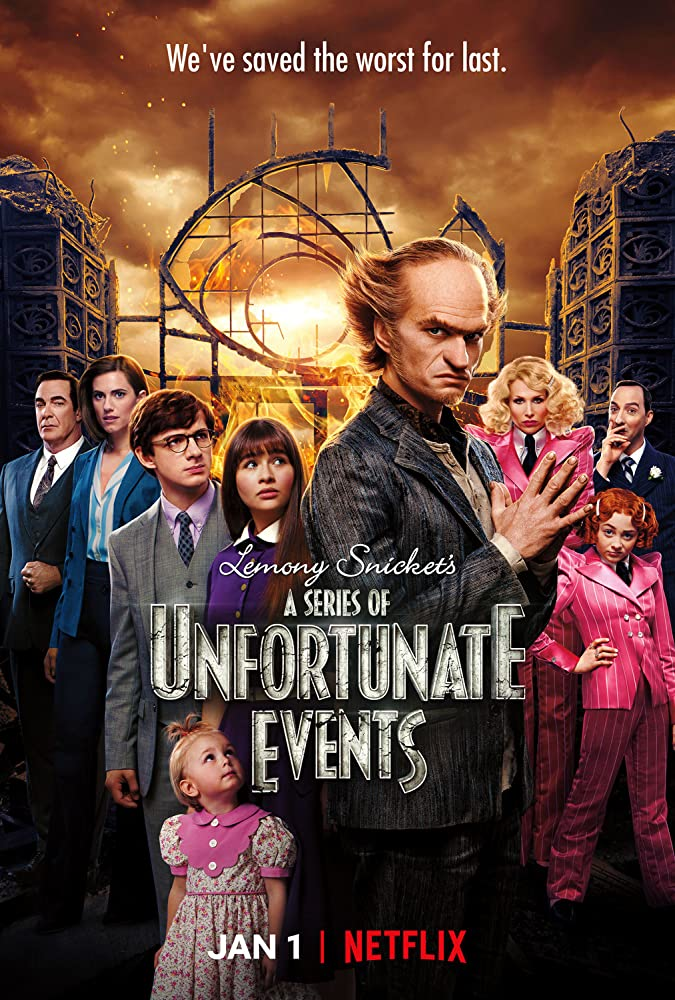 Neil Patrick Harris, Tara Strong, Tony Hale, Lucy Punch, Patrick Warburton, Allison Williams, Malina Weissman, Kitana Turnbull, Louis Hynes, and Presley Smith in A Series of Unfortunate Events (2017)