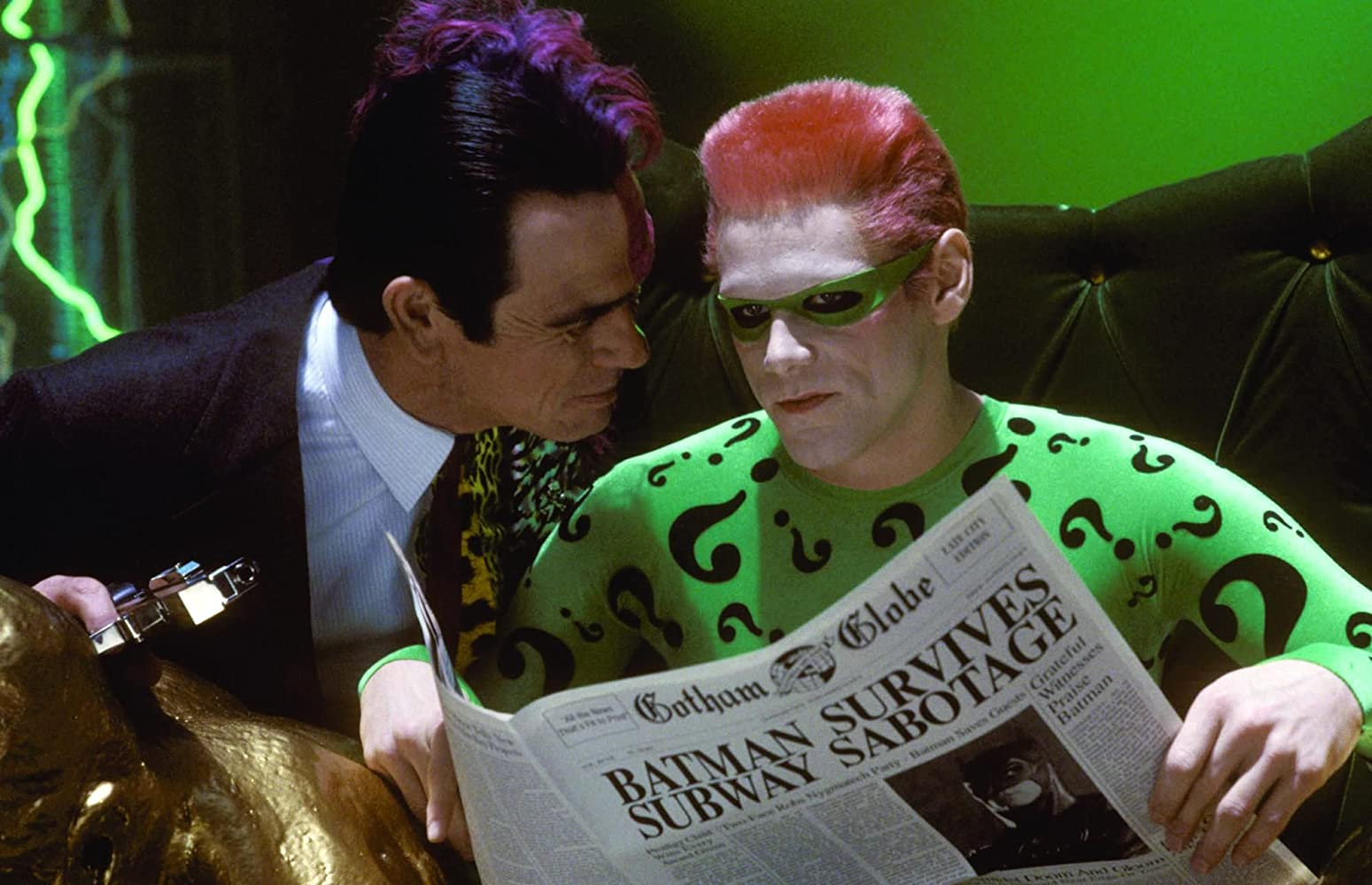 Jim Carrey and Tommy Lee Jones in Batman Forever (1995)