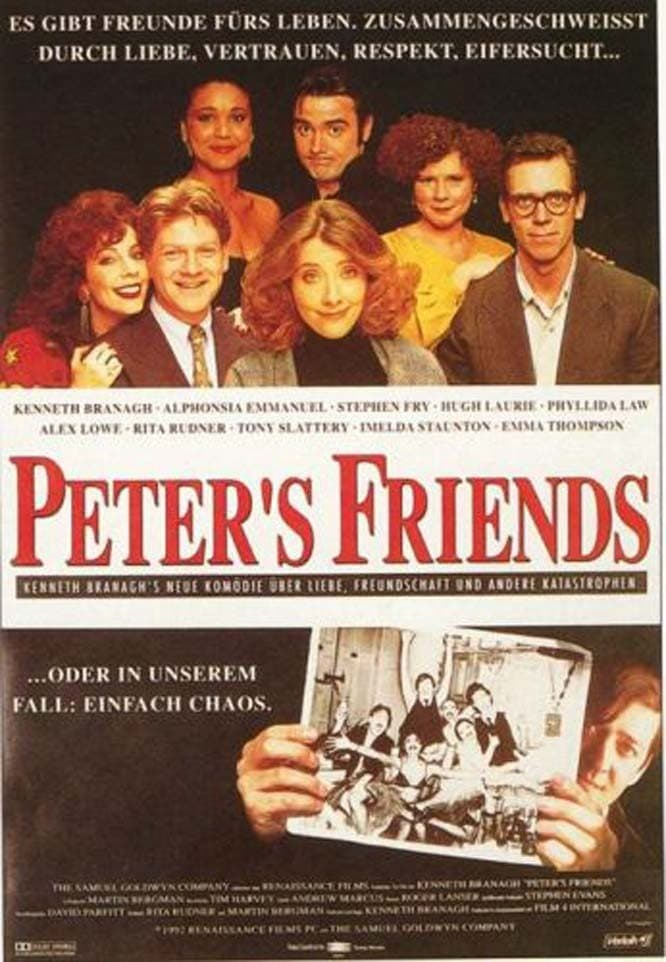 Kenneth Branagh, Stephen Fry, Emma Thompson, Imelda Staunton, Alphonsia Emmanuel, Hugh Laurie, Rita Rudner, and Tony Slattery in Peter's Friends (1992)