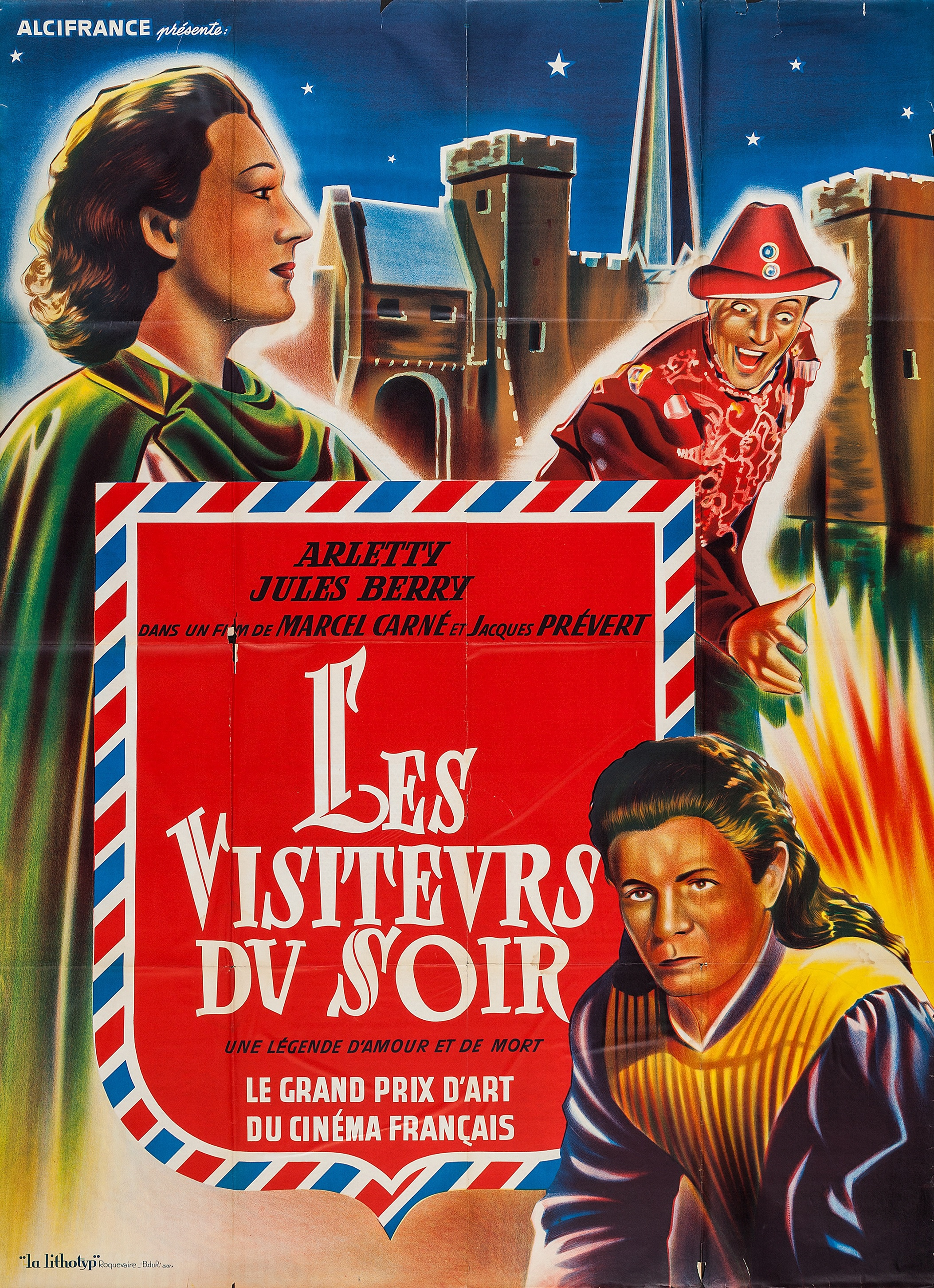 Les visiteurs du soir Marcel Carne vintage movie poster