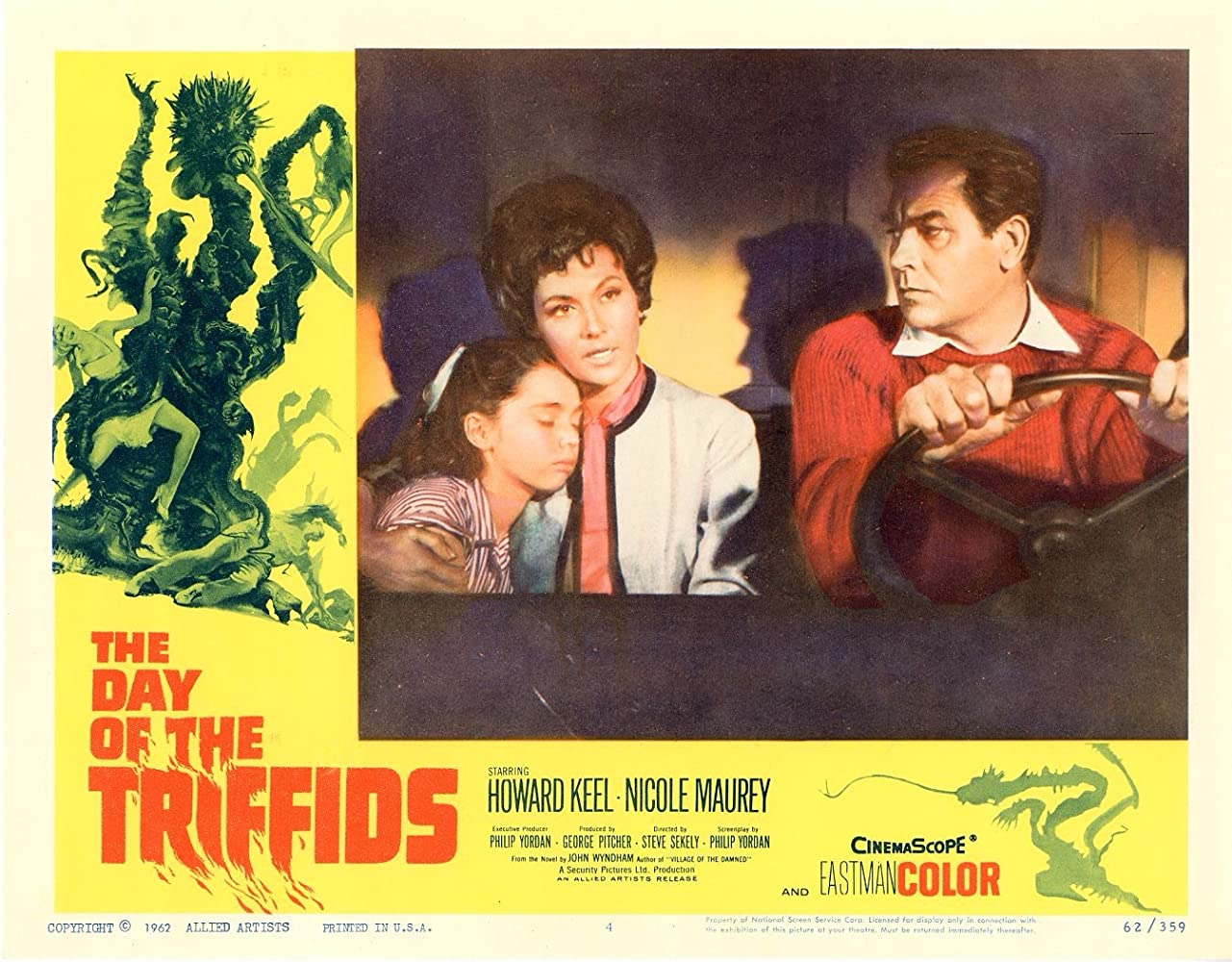 Janina Faye, Howard Keel, and Nicole Maurey in The Day of the Triffids (1963)