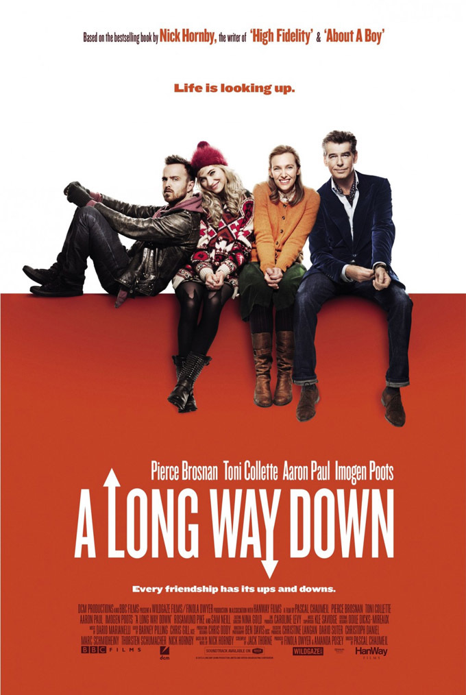 Pierce Brosnan, Toni Collette, Aaron Paul, and Imogen Poots in A Long Way Down (2014)