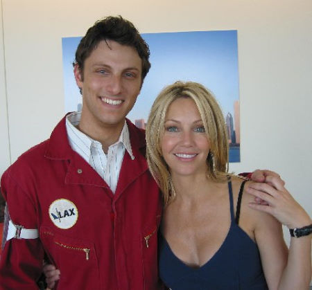 Brian Appel and Heather Locklear on the set of LAX.