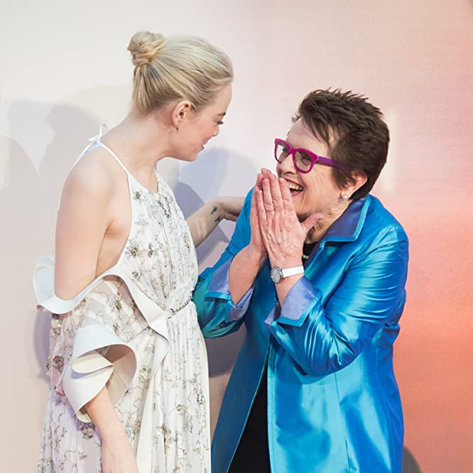 Billie Jean King and Emma Stone at an event for Battle of the Sexes (2017)