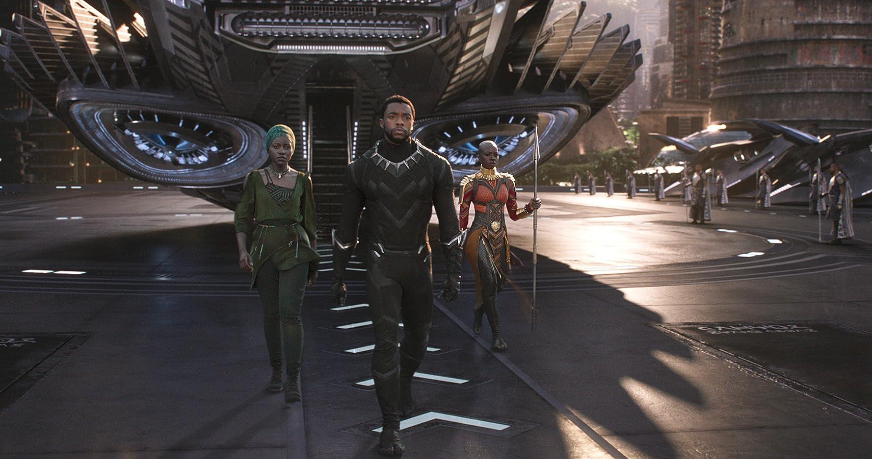 Chadwick Boseman, Danai Gurira, and Lupita Nyong'o in Black Panther (2018)