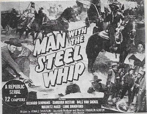 Barbara Bestar, Dick Simmons, and Dale Van Sickel in Man with the Steel Whip (1954)