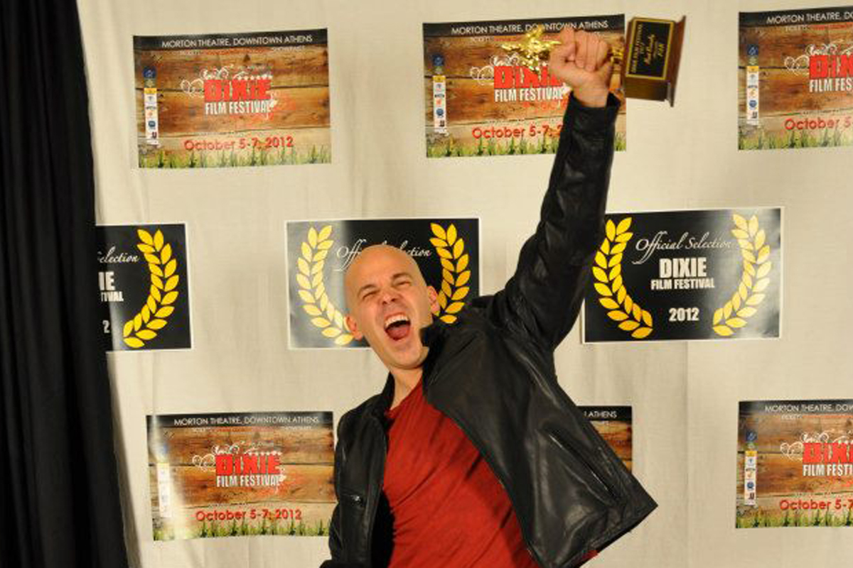 Brian Crewe at the 2012 Dixie Film Festival winning the Best Comedy award for his short film FAR.