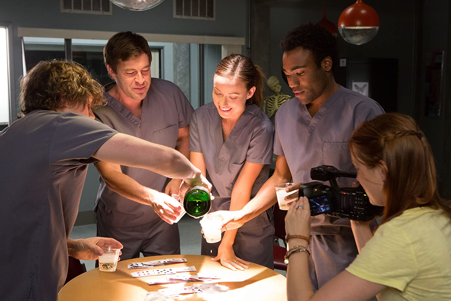 Sarah Bolger, Mark Duplass, Olivia Wilde, Evan Peters, and Donald Glover in The Lazarus Effect (2015)