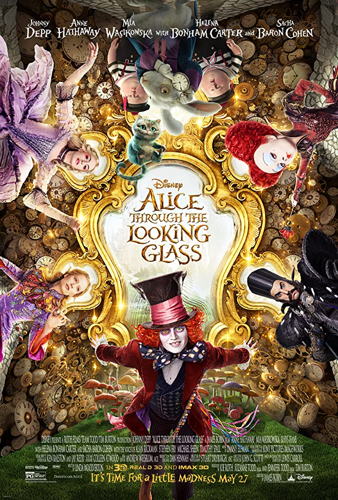 Johnny Depp, Helena Bonham Carter, Anne Hathaway, Sacha Baron Cohen, and Mia Wasikowska in Alice Through the Looking Glass (2016)