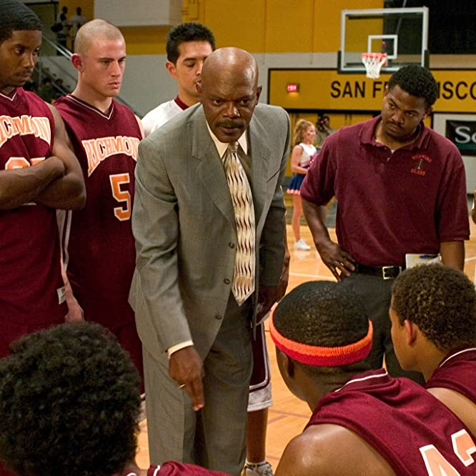 Samuel L. Jackson, Rob Brown, Robert Ri'chard, Channing Tatum, Texas Battle, and Clyde Goins in Coach Carter (2005)