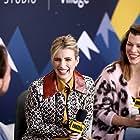 Milla Jovovich and Emma Roberts in The IMDb Studio at Sundance (2015)