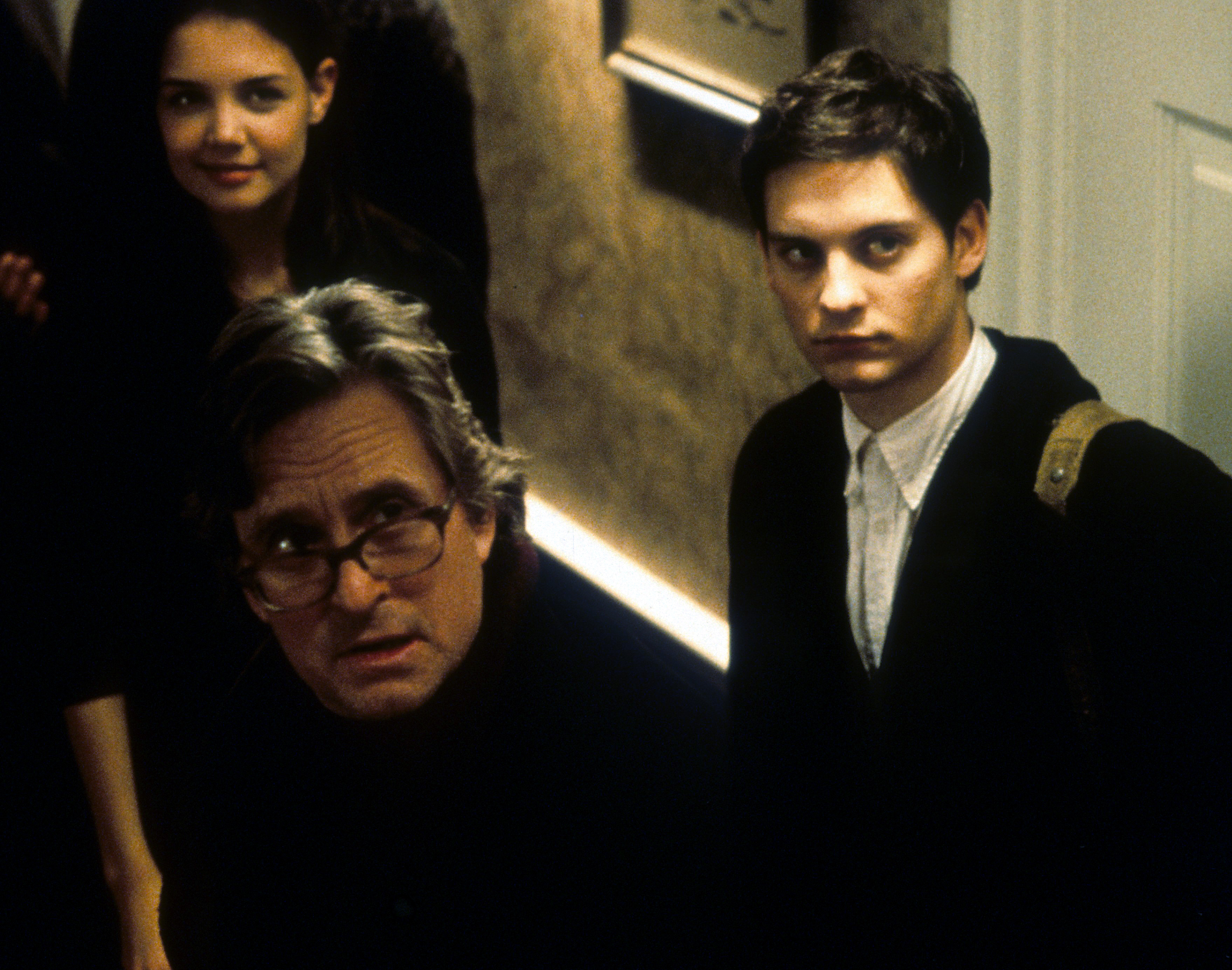 Michael Douglas, Tobey Maguire, and Katie Holmes in Wonder Boys (2000)