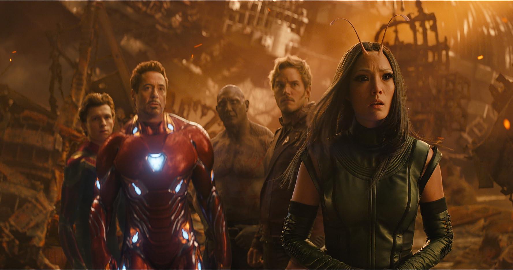 Robert Downey Jr., Chris Pratt, Dave Bautista, Pom Klementieff, and Tom Holland in Avengers: Infinity War (2018)