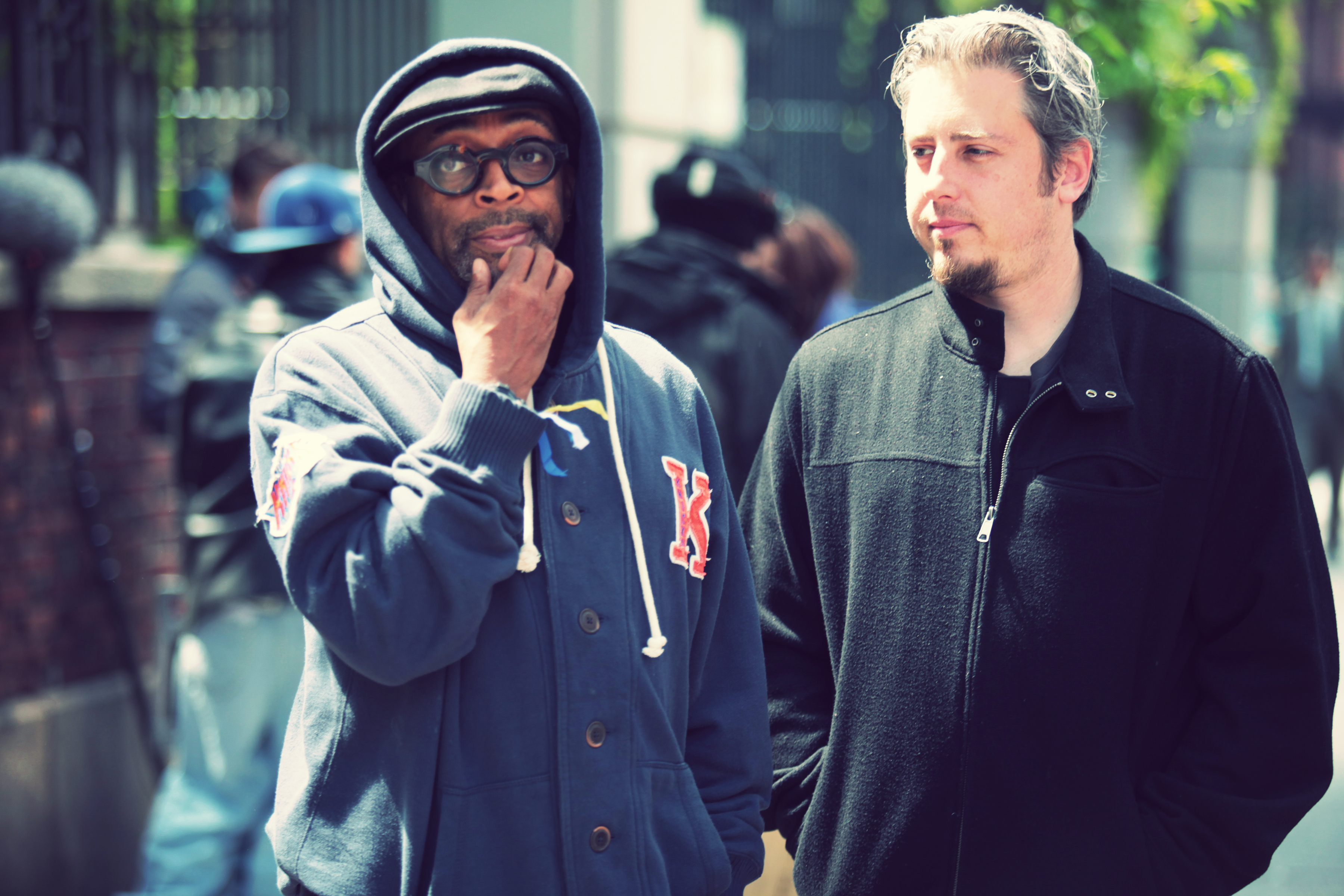 "Spike Lee and Jeremy Alter on the set of ""Touched with Fire"""