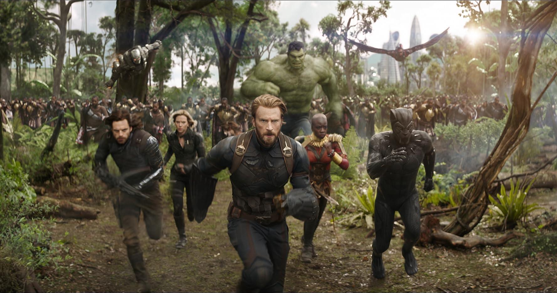 Don Cheadle, Chris Evans, Scarlett Johansson, Mark Ruffalo, Anthony Mackie, Chadwick Boseman, Sebastian Stan, and Danai Gurira in Avengers: Infinity War (2018)
