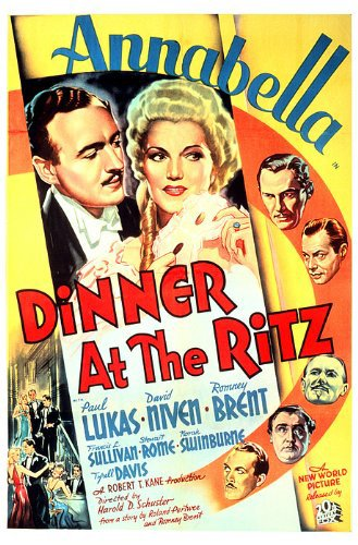 David Niven, Annabella, Romney Brent, Tyrell Davis, and Paul Lukas in Dinner at the Ritz (1937)