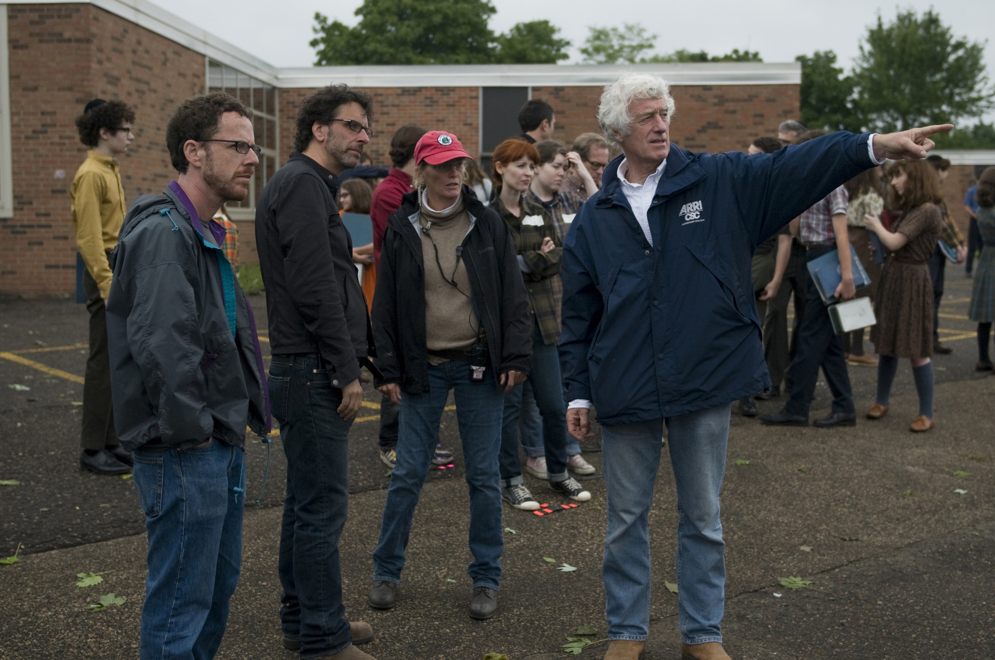 Ethan Coen, Joel Coen, Roger Deakins, and Betsy Magruder in A Serious Man (2009)