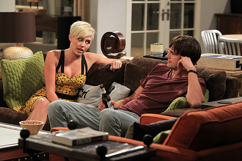 Ashton Kutcher and Miley Cyrus in Two and a Half Men (2003)