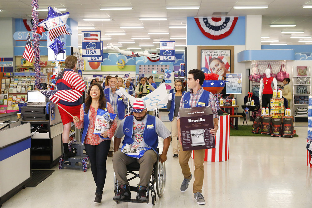 America Ferrera, Ben Feldman, and Colton Dunn in Superstore (2015)