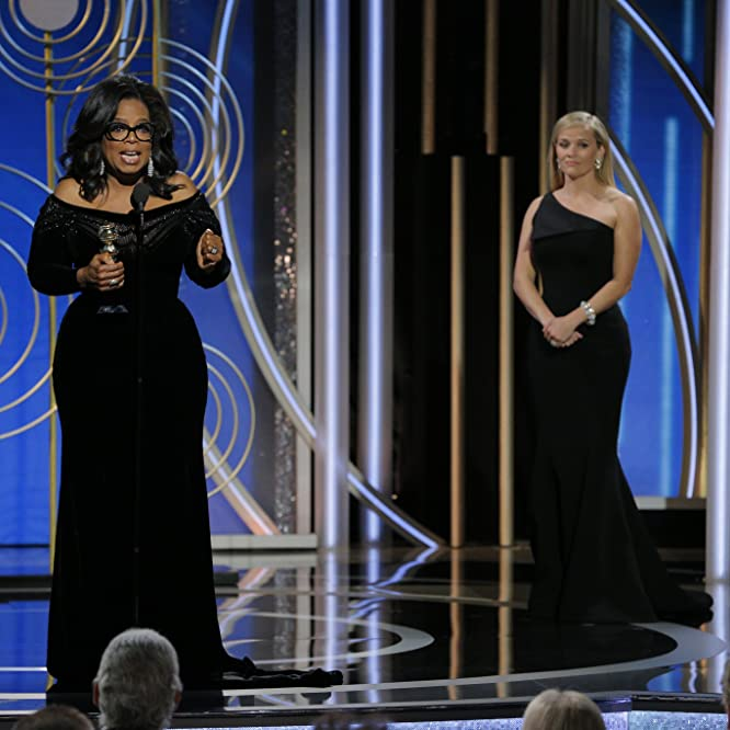 Reese Witherspoon and Oprah Winfrey at an event for 75th Golden Globe Awards (2018)