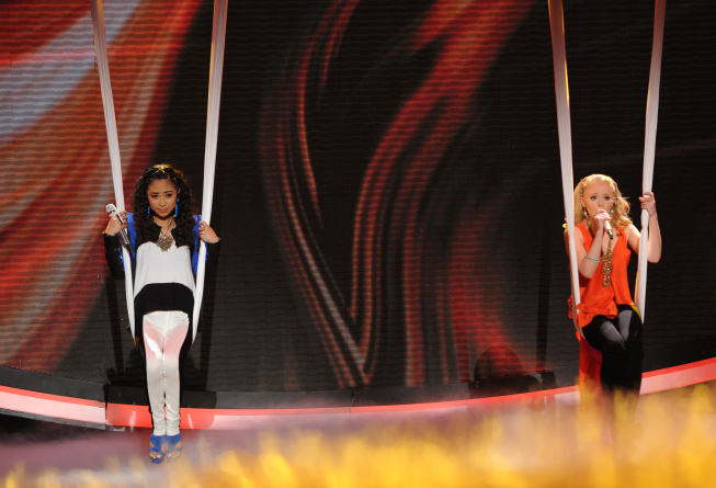 Hollie Cavanagh and Jessica Sanchez in American Idol: The Search for a Superstar (2002)