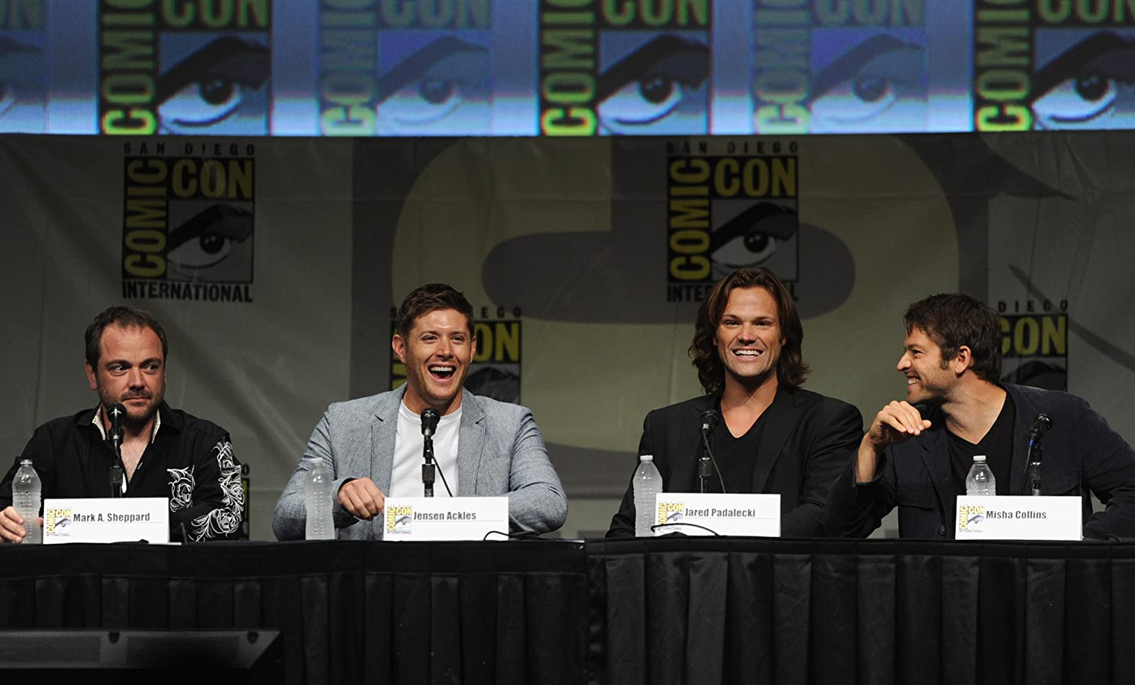 Jensen Ackles Misha Collins Jared Padalecki And Mark Sheppard At An Event For