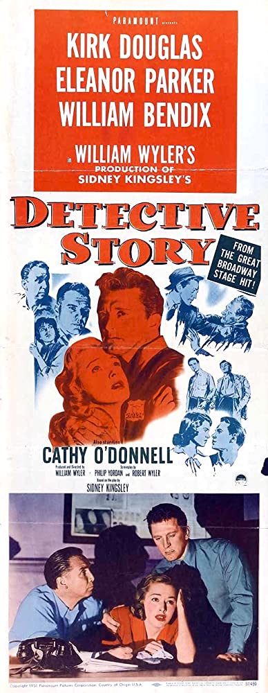 Kirk Douglas, William Bendix, Lee Grant, George Macready, Horace McMahon, Cathy O'Donnell, and Eleanor Parker in Detective Story (1951)