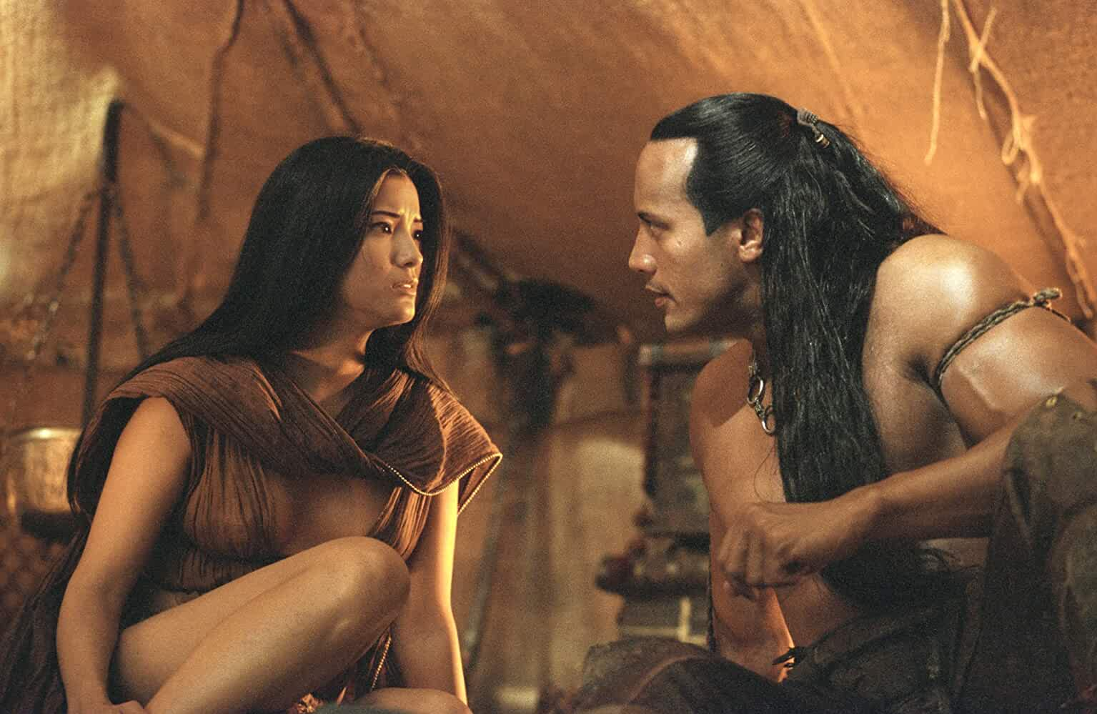 Kelly Hu and Dwayne Johnson in The Scorpion King (2002)