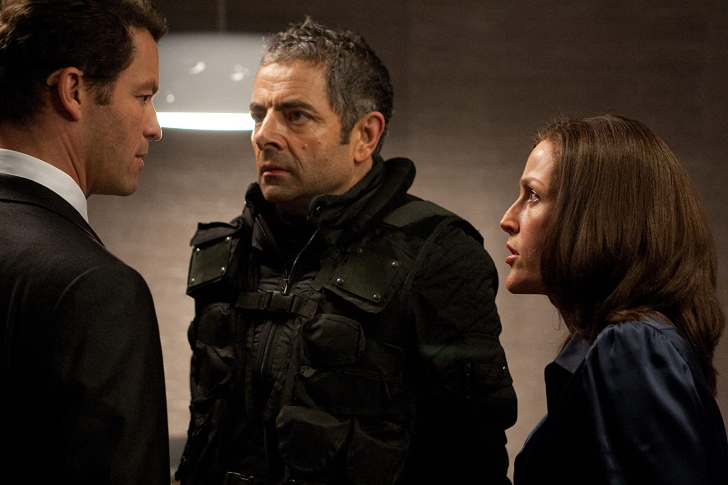 Gillian Anderson, Rowan Atkinson, and Dominic West in Johnny English Reborn (2011)