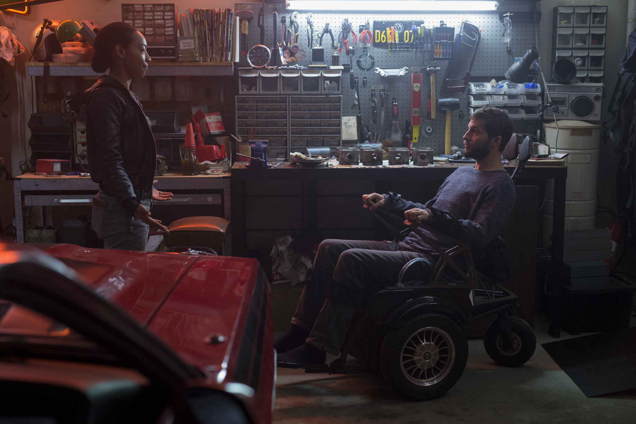 Logan Marshall-Green and Betty Gabriel in Upgrade (2018)