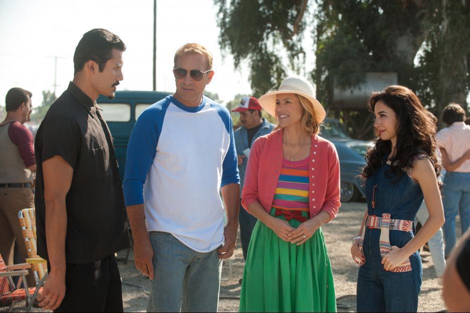 Kevin Costner, Maria Bello, Martha Higareda, and Rigo Sanchez in McFarland, USA (2015)