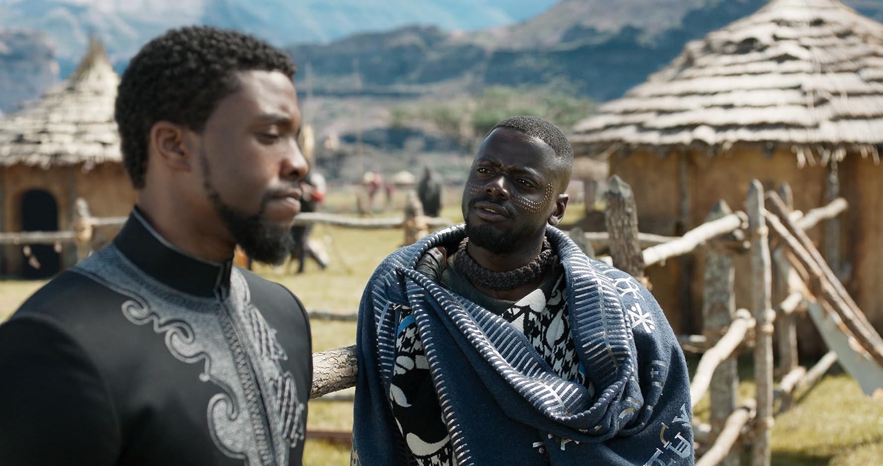 Chadwick Boseman and Daniel Kaluuya in Black Panther (2018)