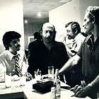 Ilya Salkind, Richard Lester, and Charlton Heston on the set of THE THREE MUSKETEERS (1973)