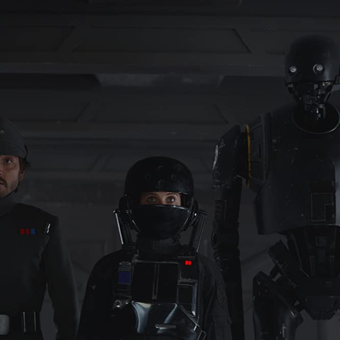 Felicity Jones, Diego Luna, and Alan Tudyk in Rogue One: A Star Wars Story (2016)