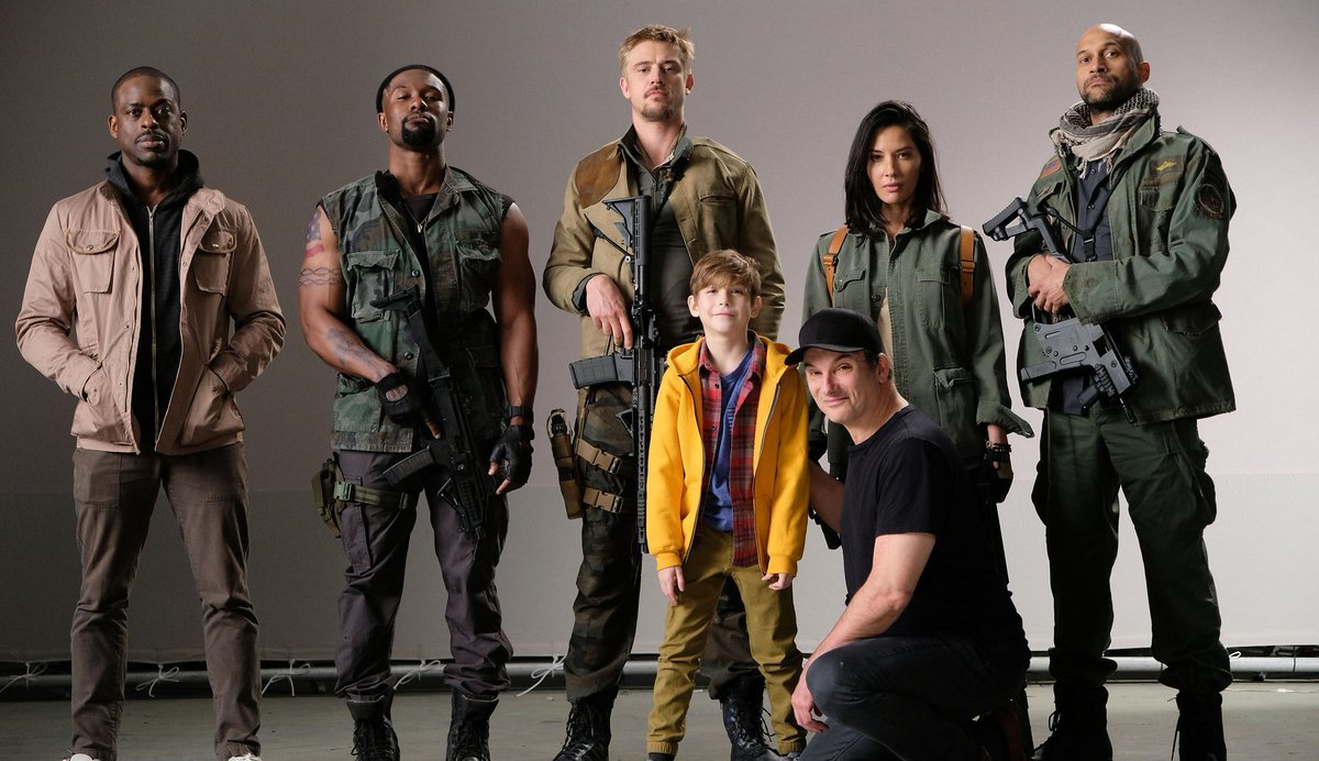 Shane Black, Keegan-Michael Key, Sterling K. Brown, Olivia Munn, Boyd Holbrook, Jacob Tremblay, and Trevante Rhodes in The Predator (2018)
